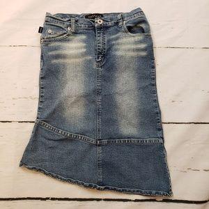 Buffalo girls 12 long distressed jean skirt